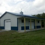 open leanto on a pole barn building
